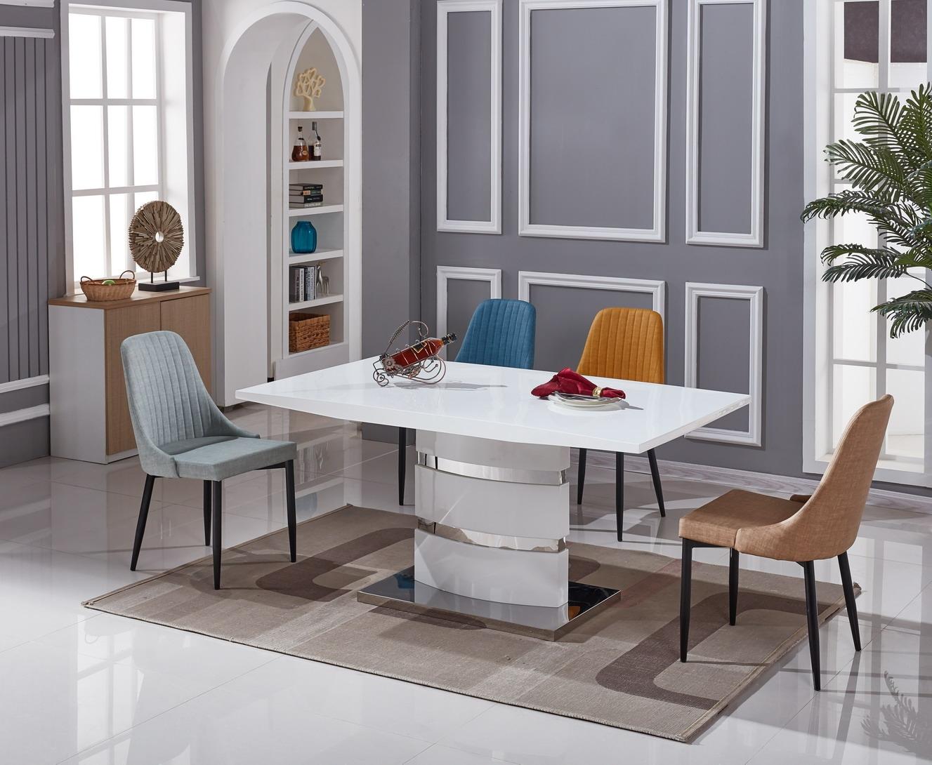 Set masa din sticla Stain + 6 scaune VandaL160xl90xh76 cm