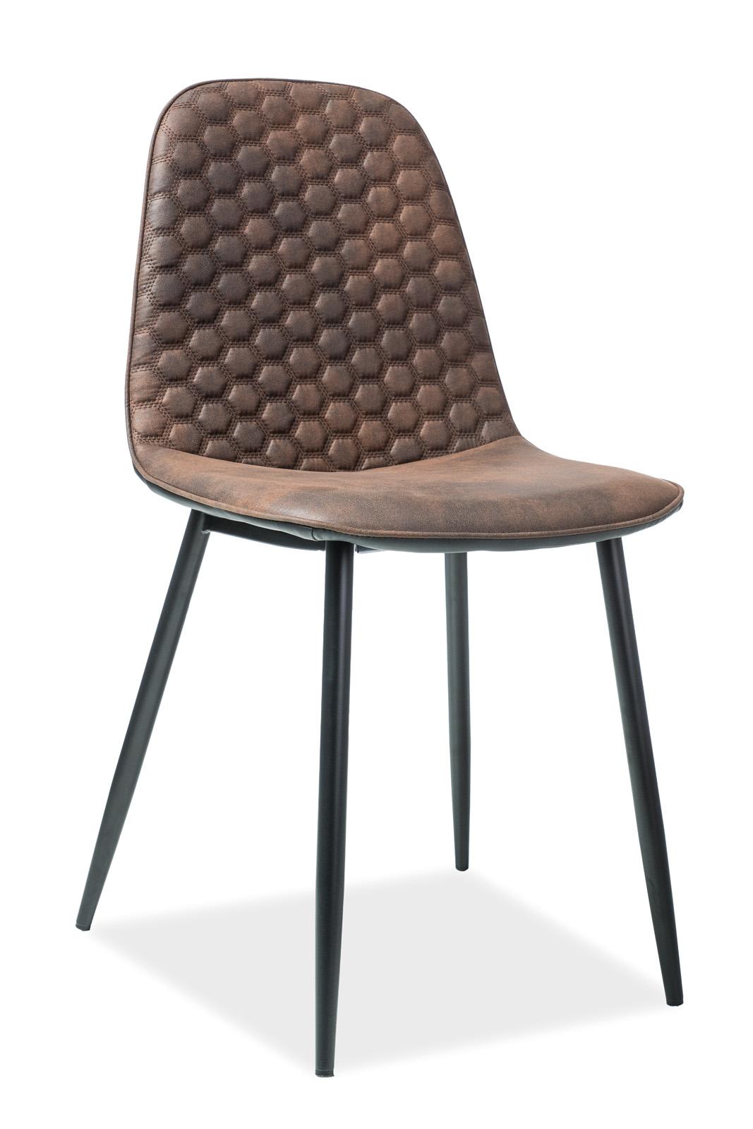 Scaun tapitat cu piele ecologica, cu picioare metalice Teo D Brown / Black, l46xA38xH88 cm