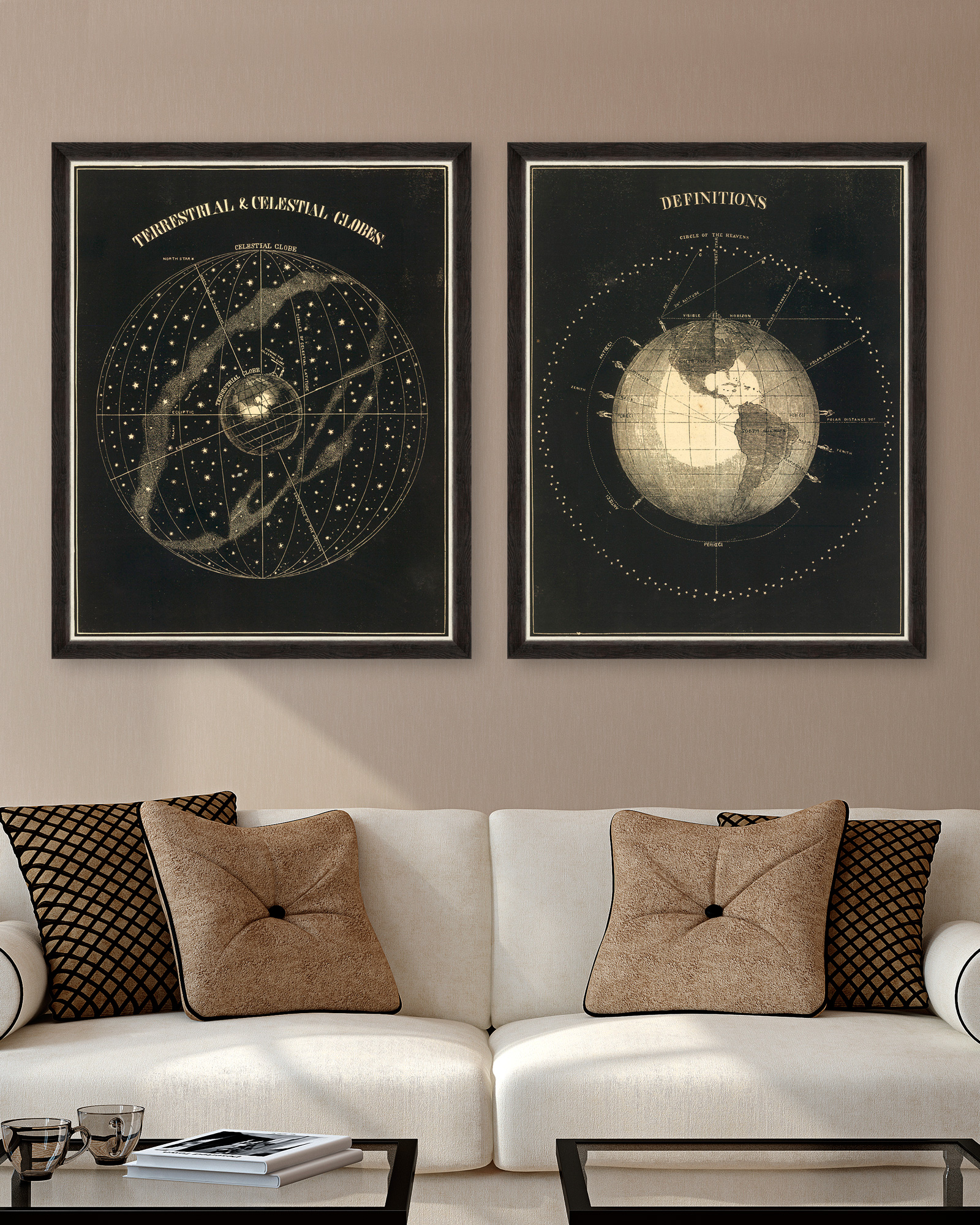 Tablou 2 piese Framed Art Terrestrial and Celestial Globes