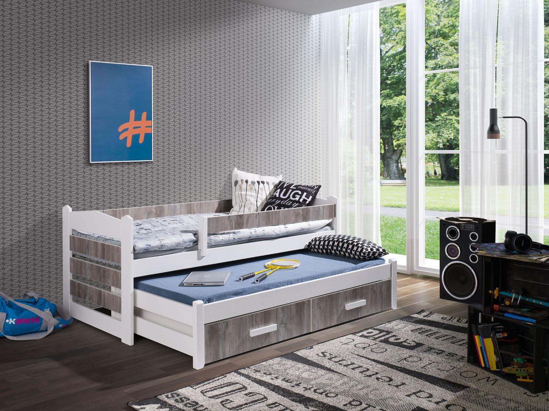 Pat suprapus din lemn de pin si pal, cu 2 sertare pentru copii Tiago II, 200 x 90 cm