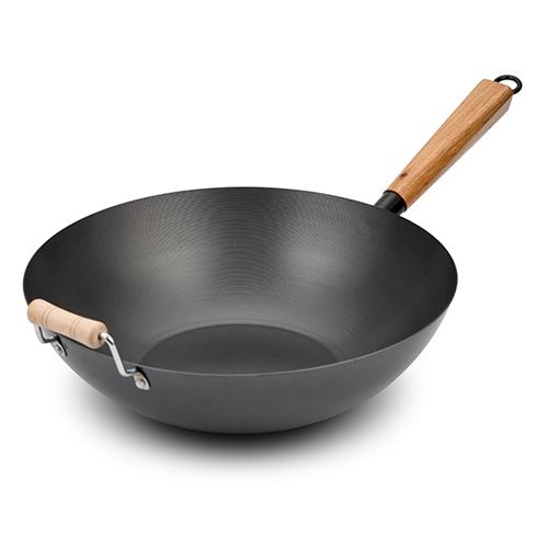 Tigaie wok cu maner din lemn Ø35 cm, Cantonese poza