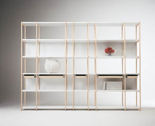 Biblioteca din lemn masiv de fag Solaio White, l265xA32xH198 cm