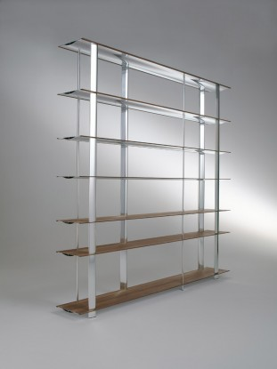 Biblioteca din aluminiu si furnir Kaze Nature / White, l240xA34xH194 cm poza