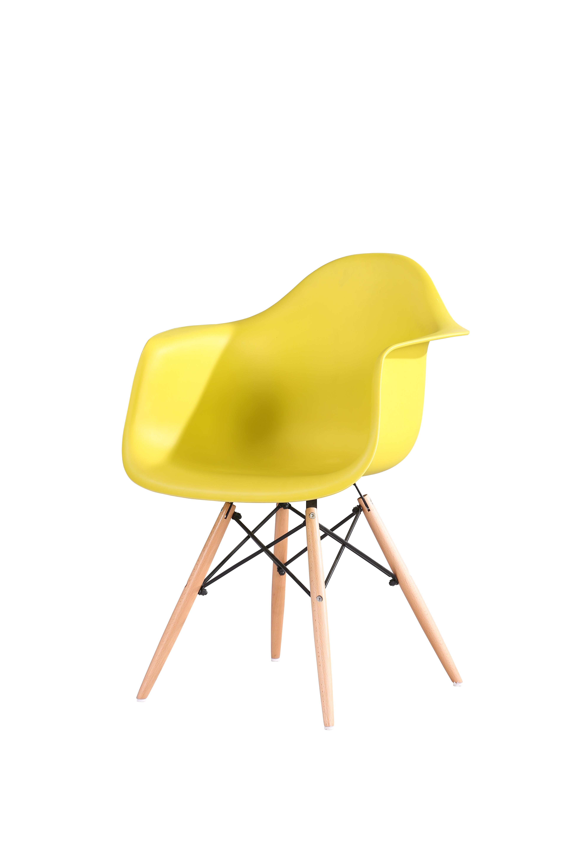 Scaun din plastic cu picioare din lemn Tingo Yellow l62xA46xH83 cm