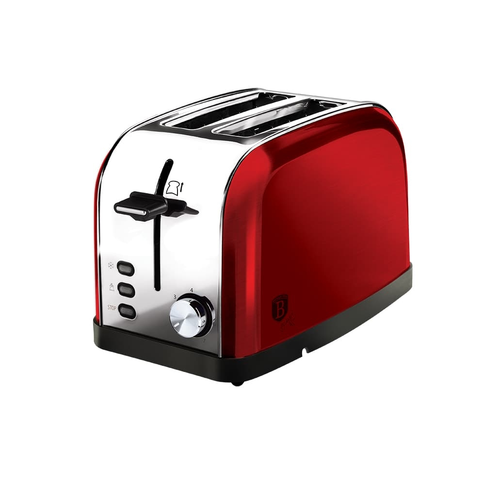 Toaster 2 sloturi, 3 functii, 850W, Metallic Line Burgundy