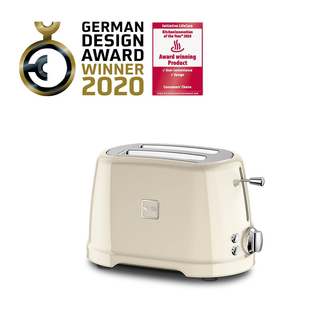 Toaster 2 sloturi, 4 functii, 900W, Novis T2 Crem imagine