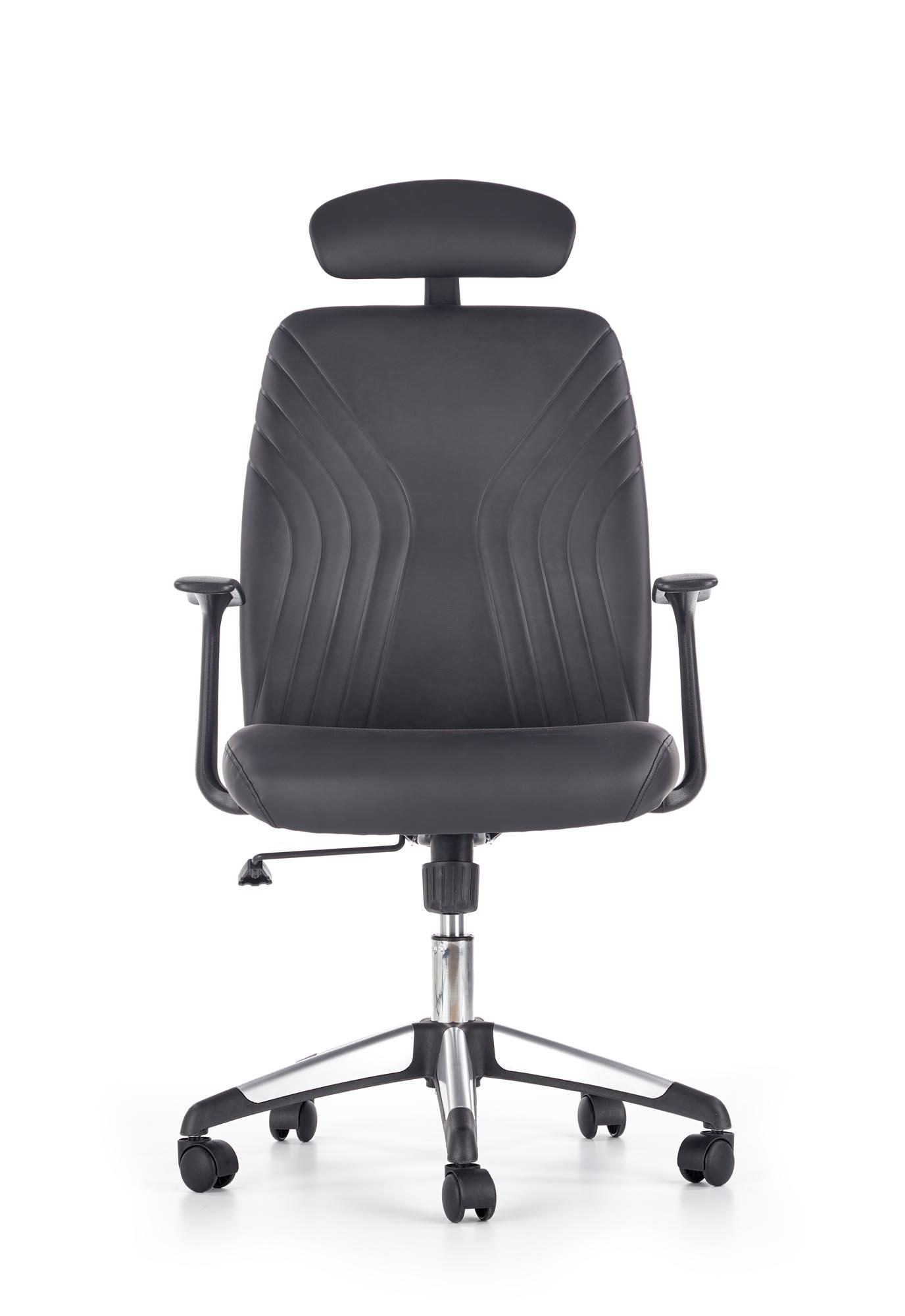 Scaun de birou ergonomic tapitat cu piele ecologica Tolio Black, l60xA63xH110-120 cm poza