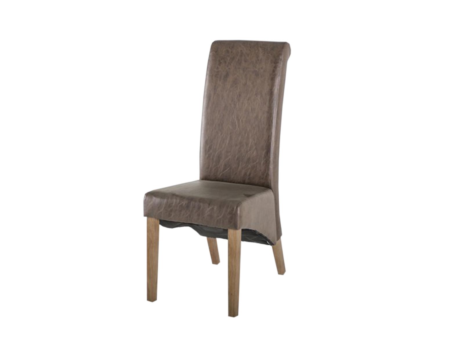 Scaun tapitat cu piele ecologica Torino Brown