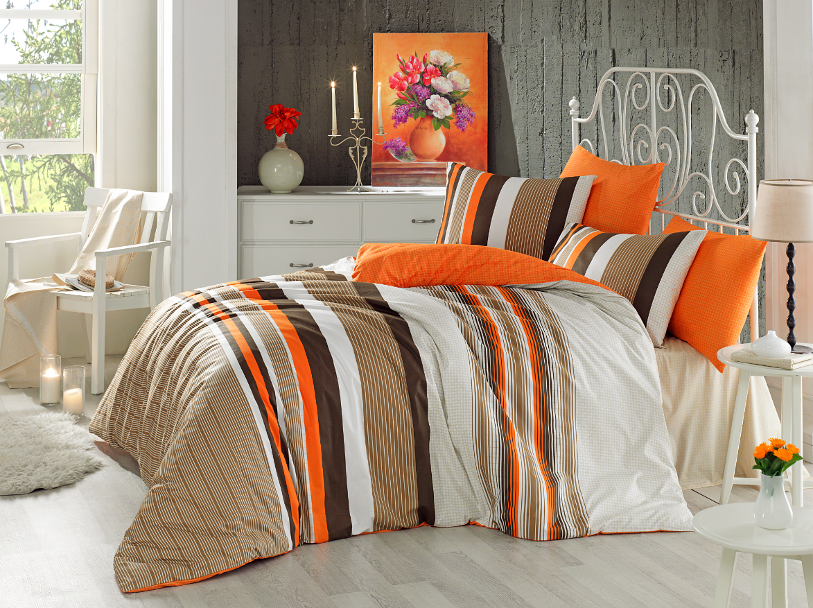 Lenjerie de pat Ranforce Touch V1 Orange-2 pers-200 x 220 cm imagine