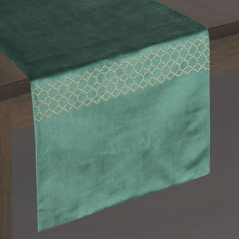 Traversa de masa Pari Velvet Verde, 35 x 180 cm