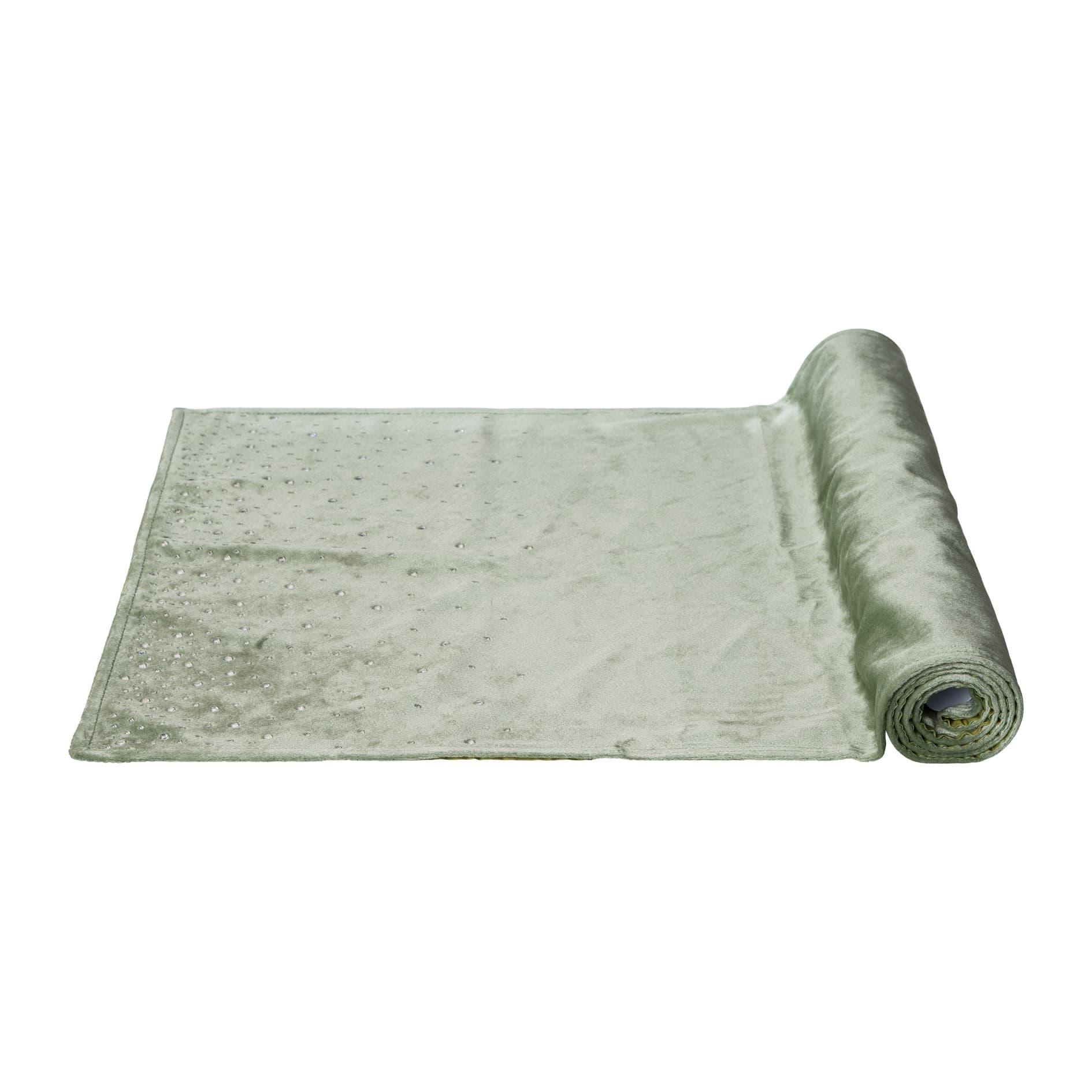 Traversa masa Diamond Velvet Verde deschis, 40 x 180 cm somproduct.ro