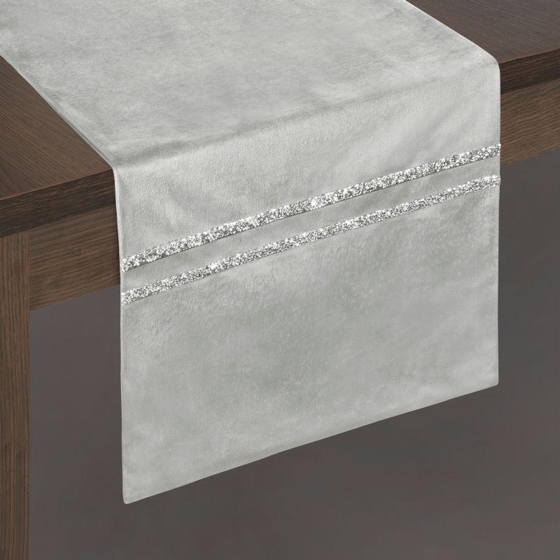 Traversa masa Glen Velvet Gri, 35 x 140 cm