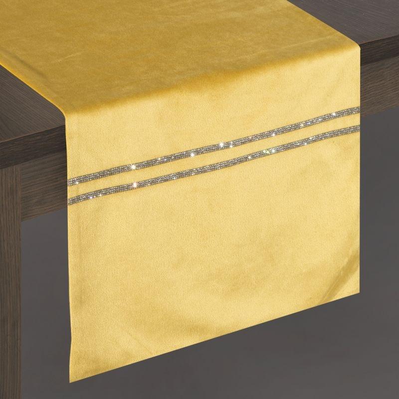 Traversa masa Glen Velvet Mustariu, 35 x 180 cm