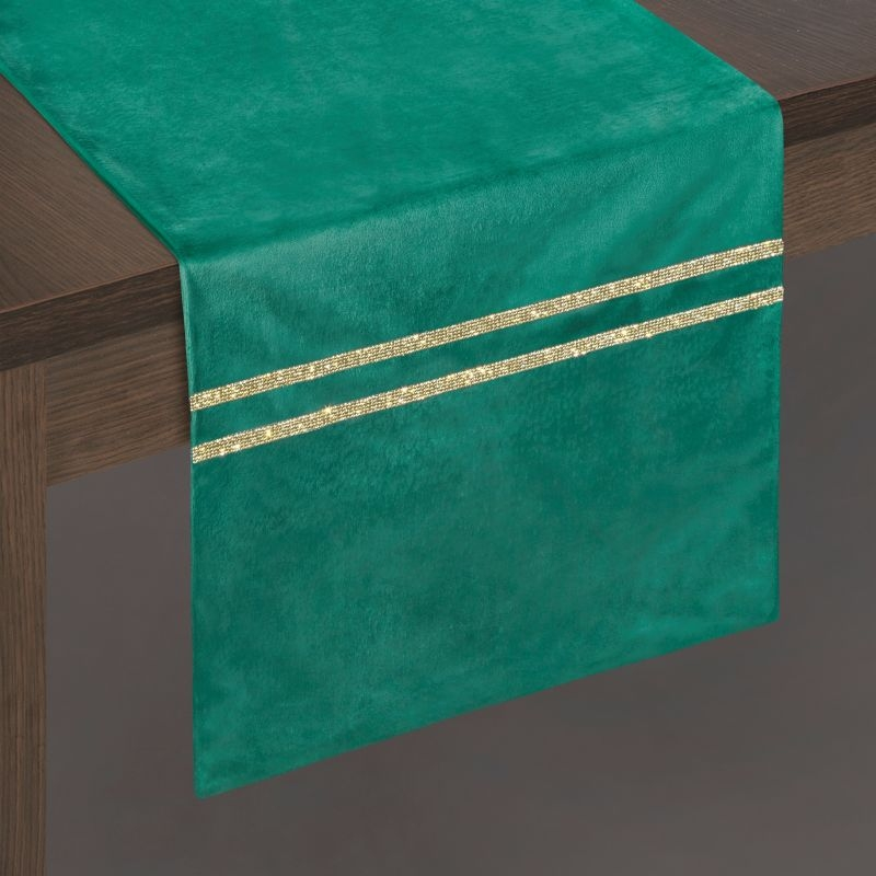 Traversa masa Malika Velvet Verde, 35 x 180 cm