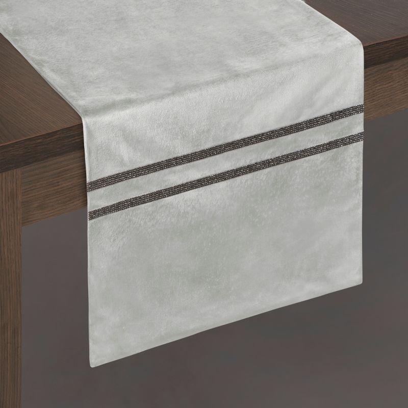 Traversa masa Oskar Velvet Gri, 35 x 140 cm