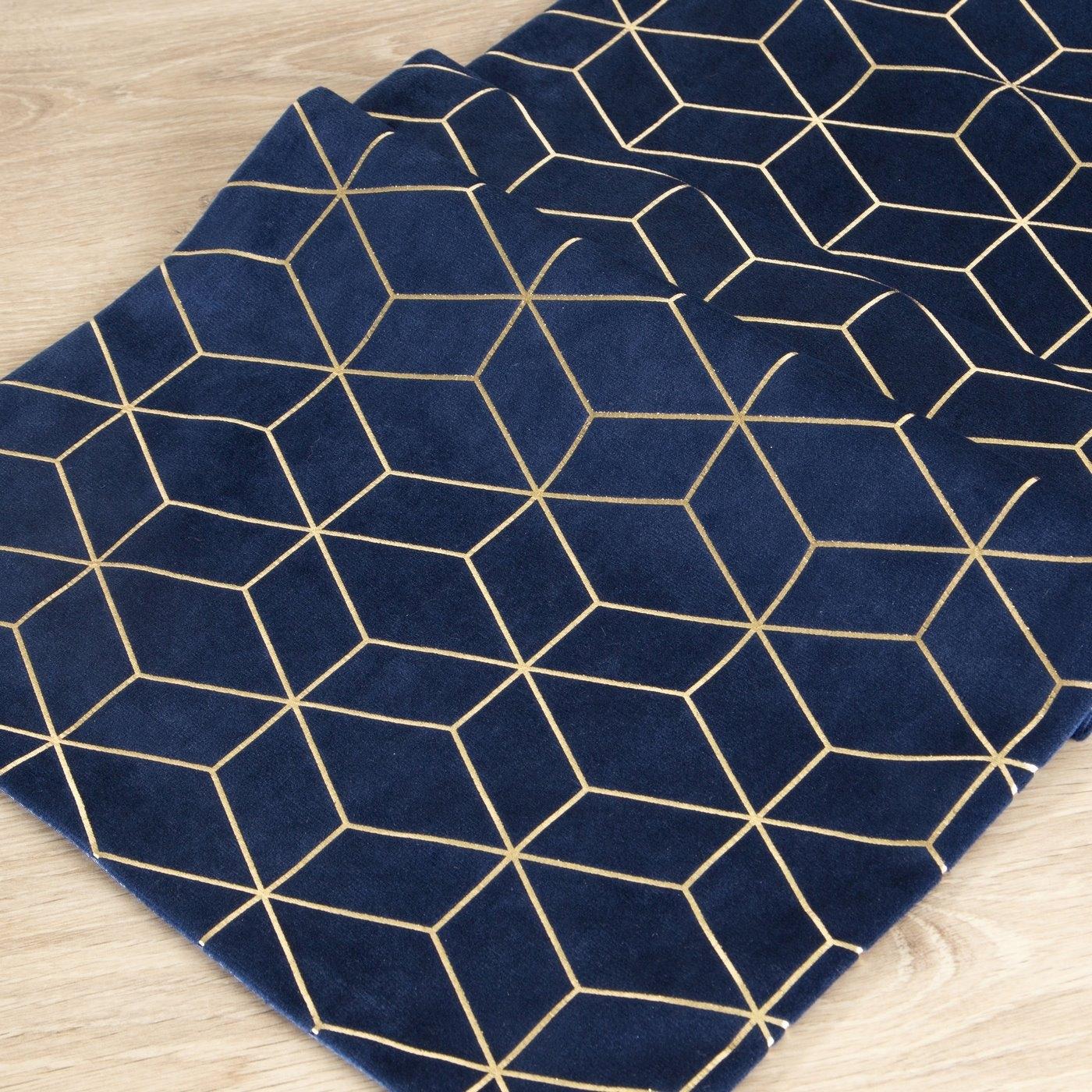 Traversa masa Suzi Velvet Bleumarin / Auriu, 35 x 140 cm poza