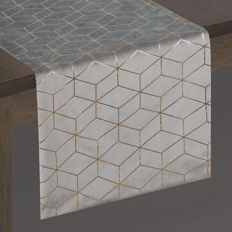 Traversa masa Suzi Velvet Gri / Auriu, 35 x 140 cm