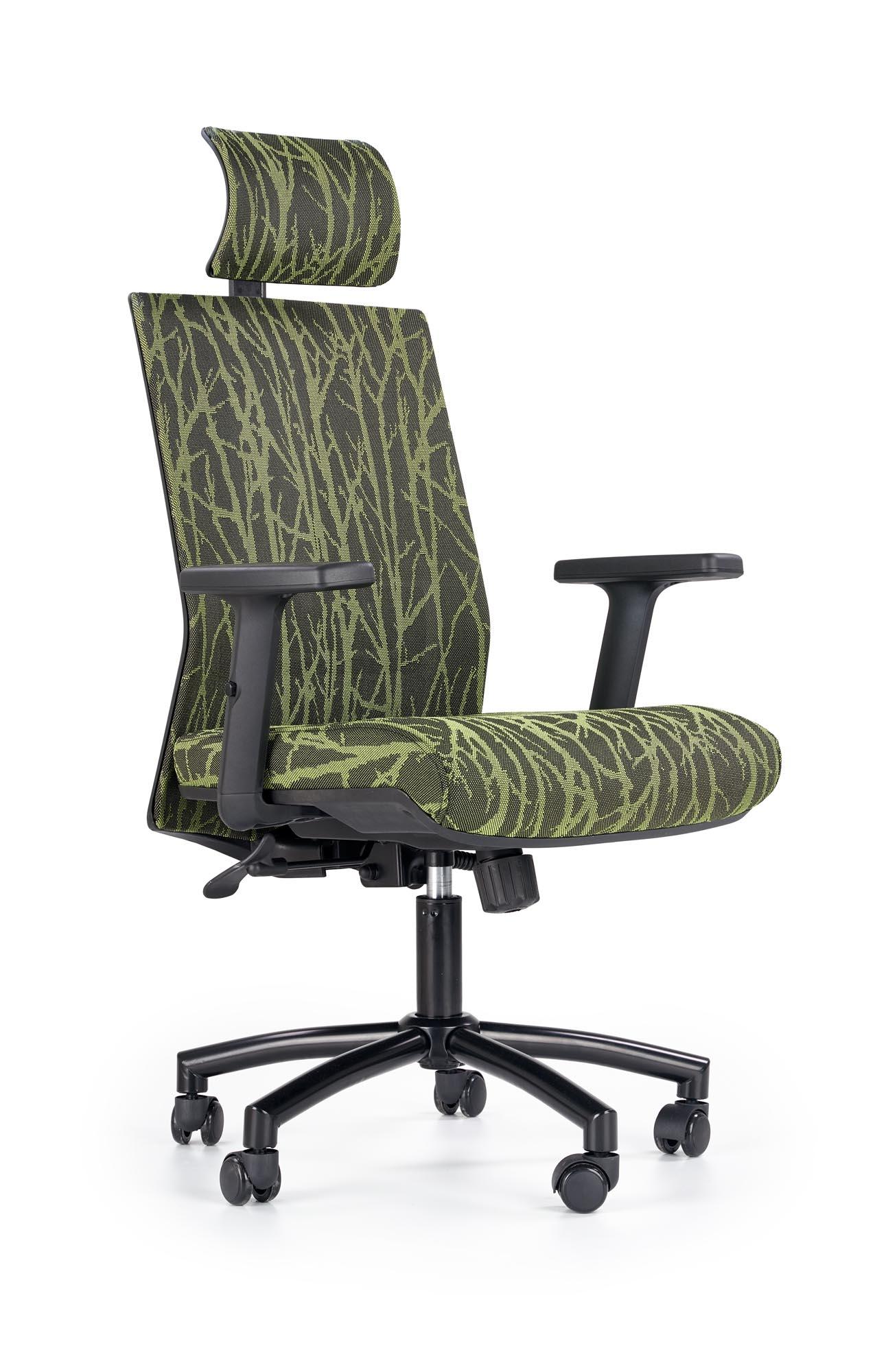 Scaun de birou ergonomic tapitat cu stofa Tropic Black / Green, l64xA59xH115-123 cm