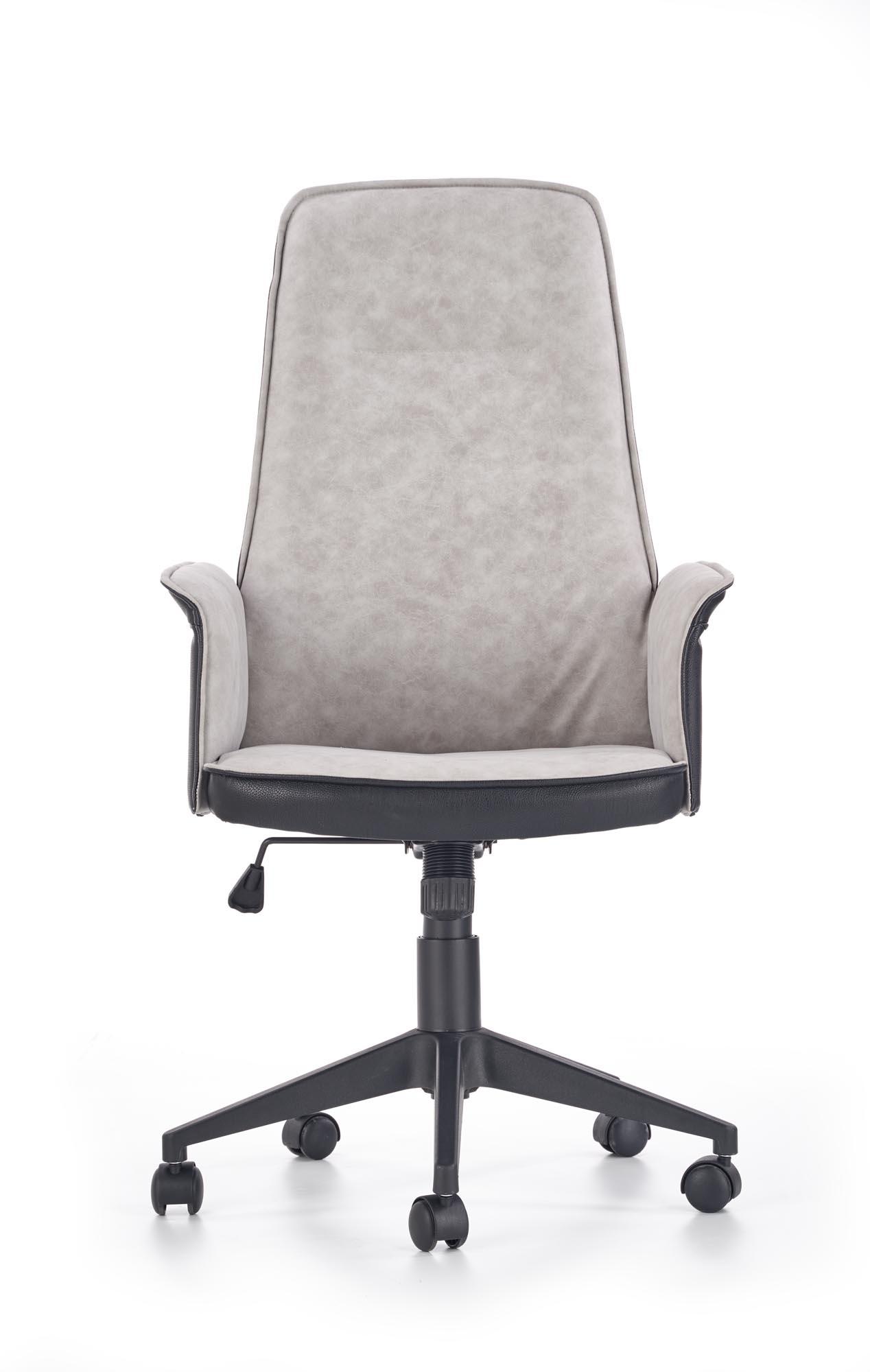 Scaun de birou ergonomic tapitat cu piele ecologica si stofa Tyrus Negru / Gri, l62xA66xH110-120 cm poza