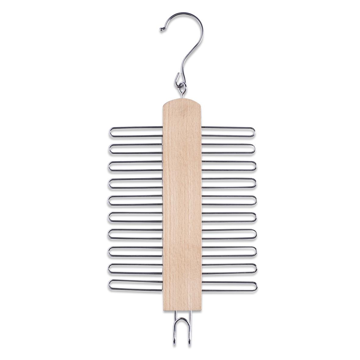 Umeras din metal si lemn pentru cravate, cu 20 carlige, Belt Natural, l16xH39 cm poza