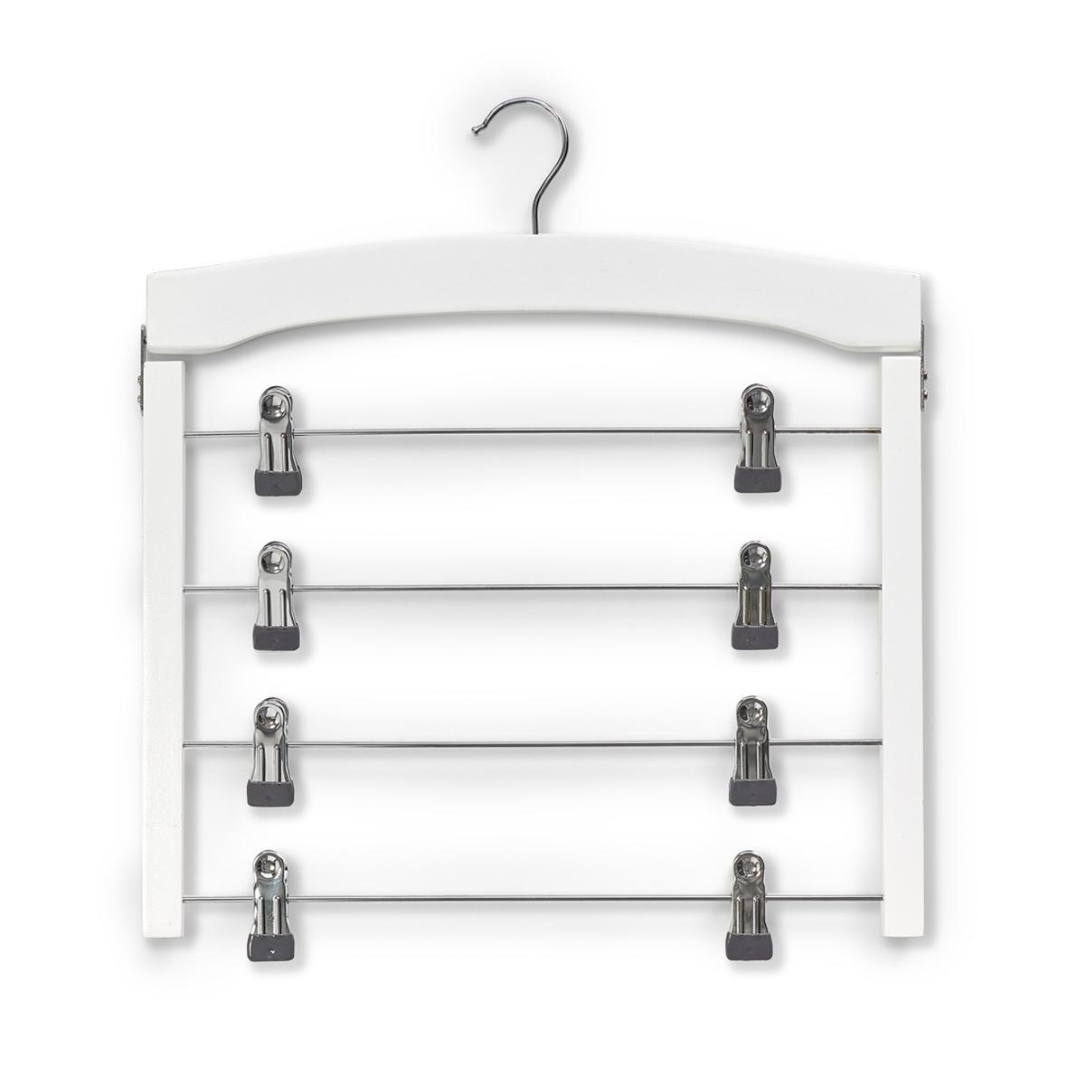 Umeras multiplu din metal si lemn pentru fuste, cu cleme metalice, Belt Alb, l39xH43 cm