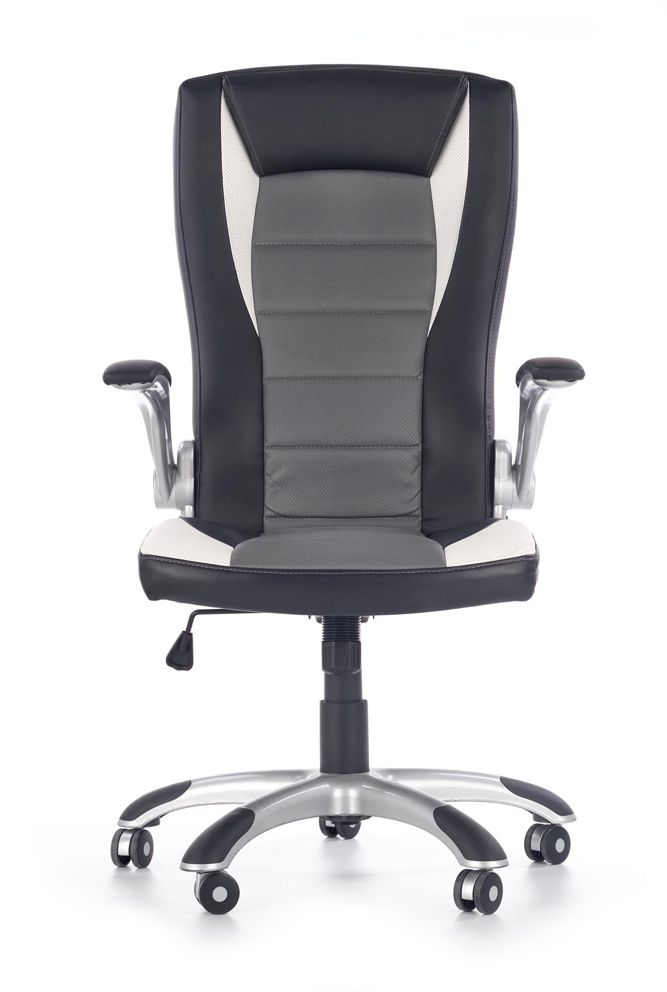 Scaun de birou ergonomic tapitat cu piele ecologica Upset Black / Grey / White, l66xA70xH115-125 cm imagine