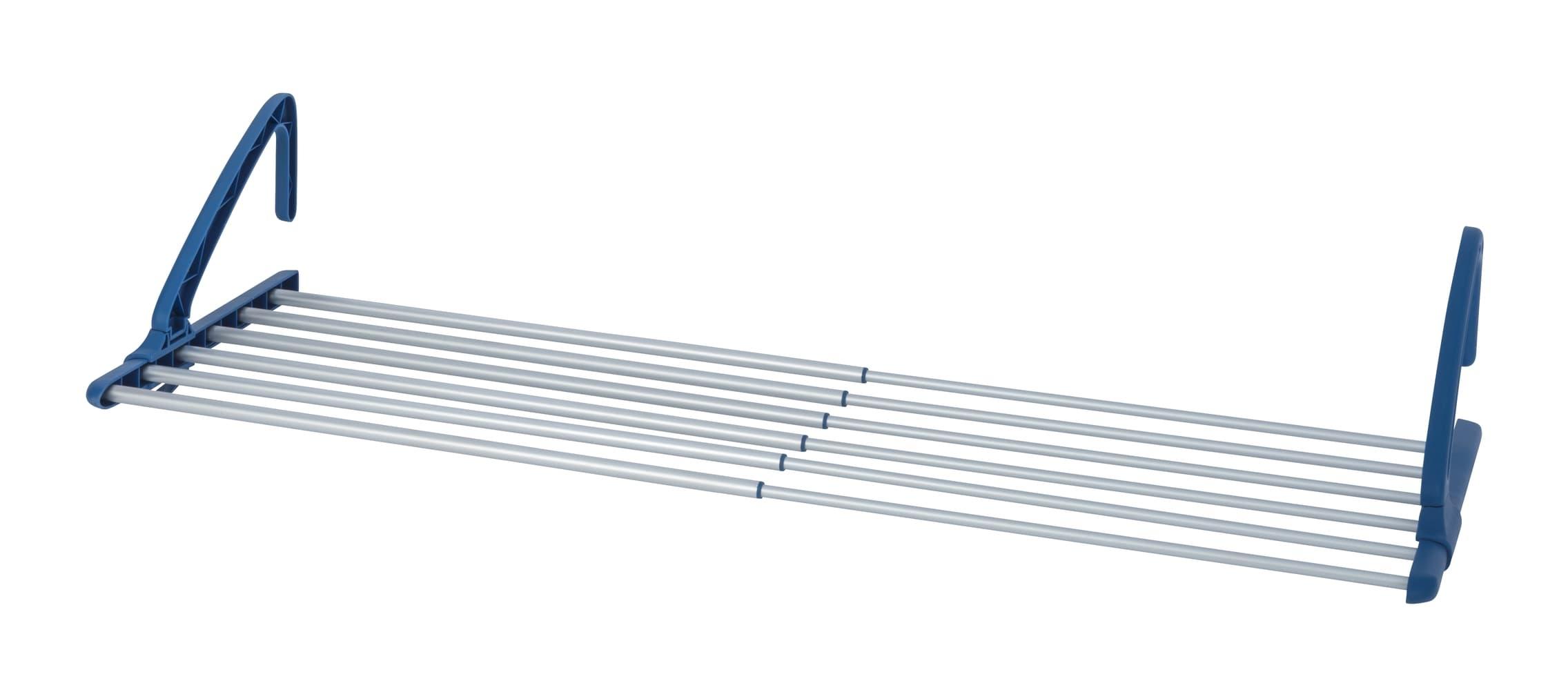 Uscator rufe extensibil pentru balcon, cadru din aluminiu, Balcony Extend Crom / Albastru, 6 m imagine