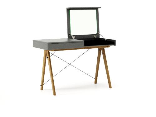 Masa machiaj Vanity Basic cu oglinda Grey, L120xl50xh75 cm