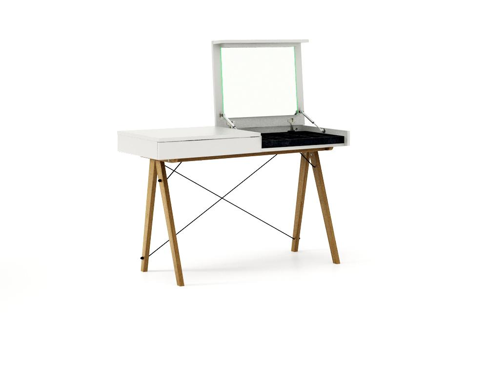 Masa machiaj Vanity Basic cu oglinda White, L120xl50xh75 cm