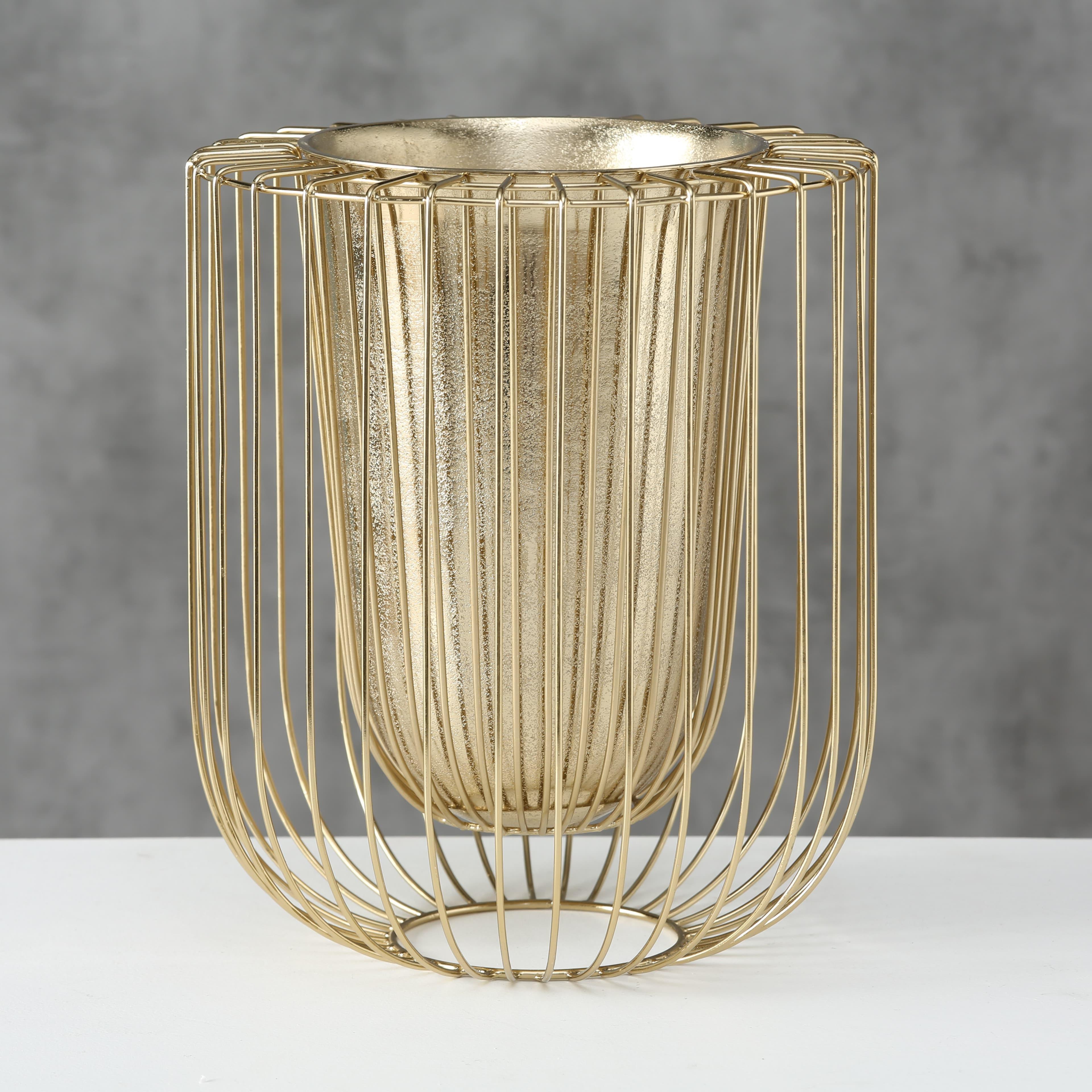 Vaza decorativa cu suport, din metal Damya Auriu, Ø29xH32 cm poza