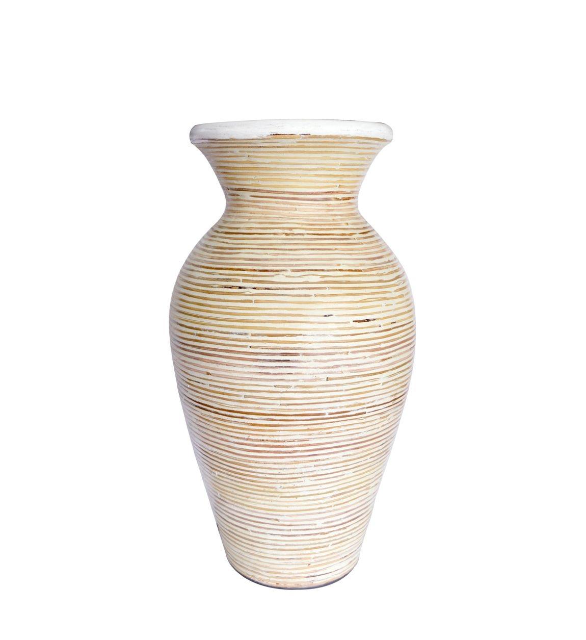 Vaza decorativa din ceramica Amphora Crem, Ø25xH44cm poza