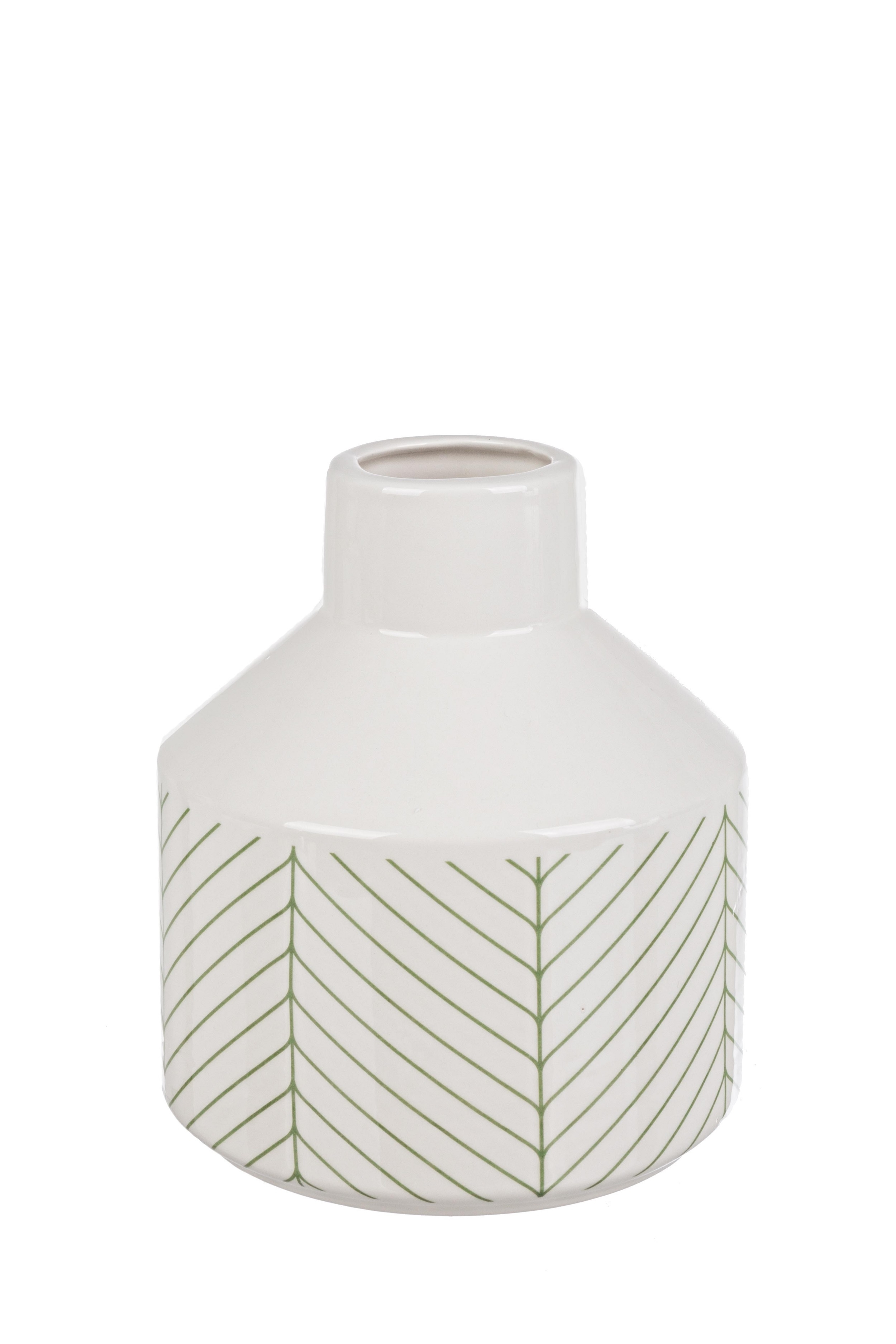 Vaza decorativa din ceramica Leaf S Alb / Verde, Ø17xH19,5 cm