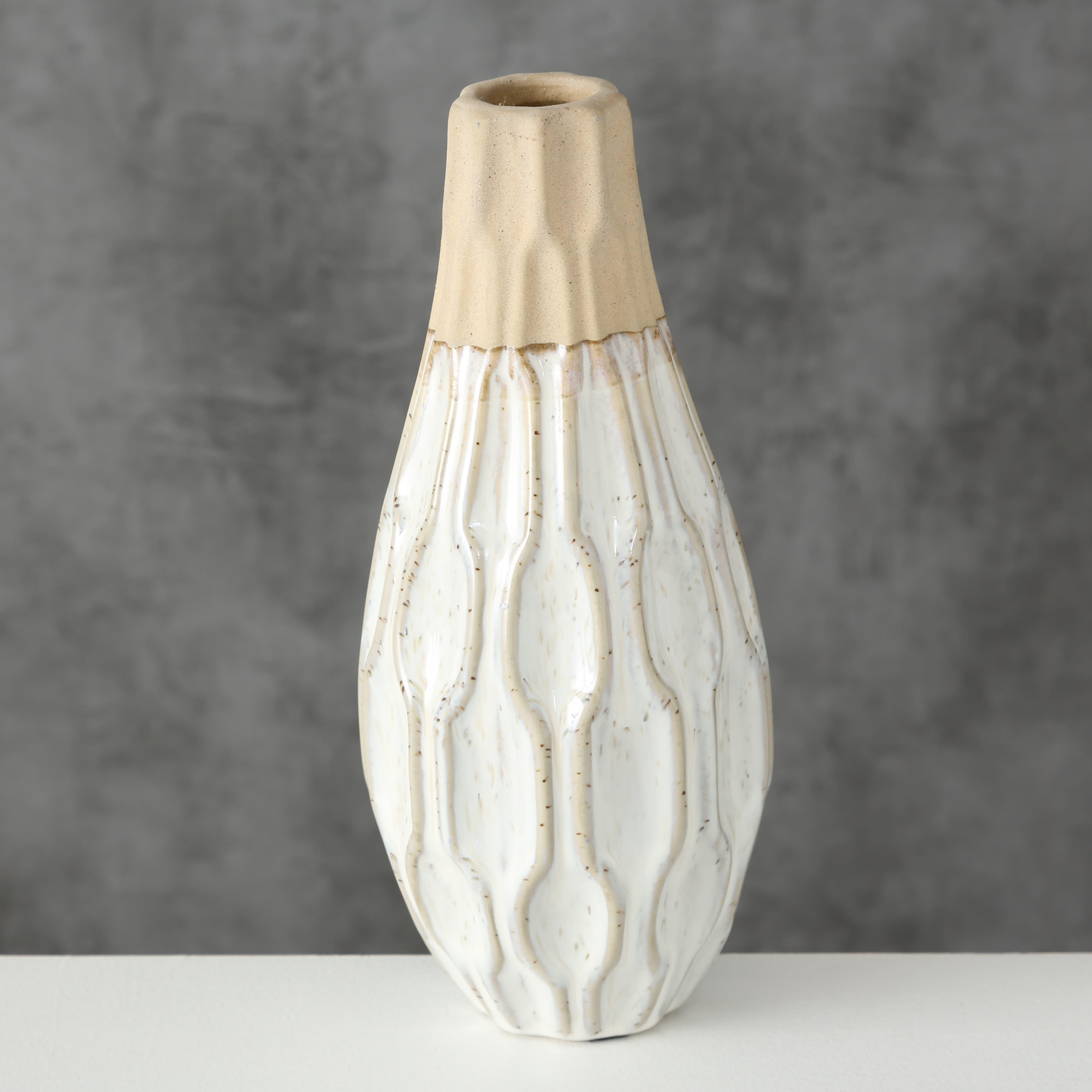 Vaza decorativa din ceramica Malia Crem / Bej, Ø10xH25 cm poza