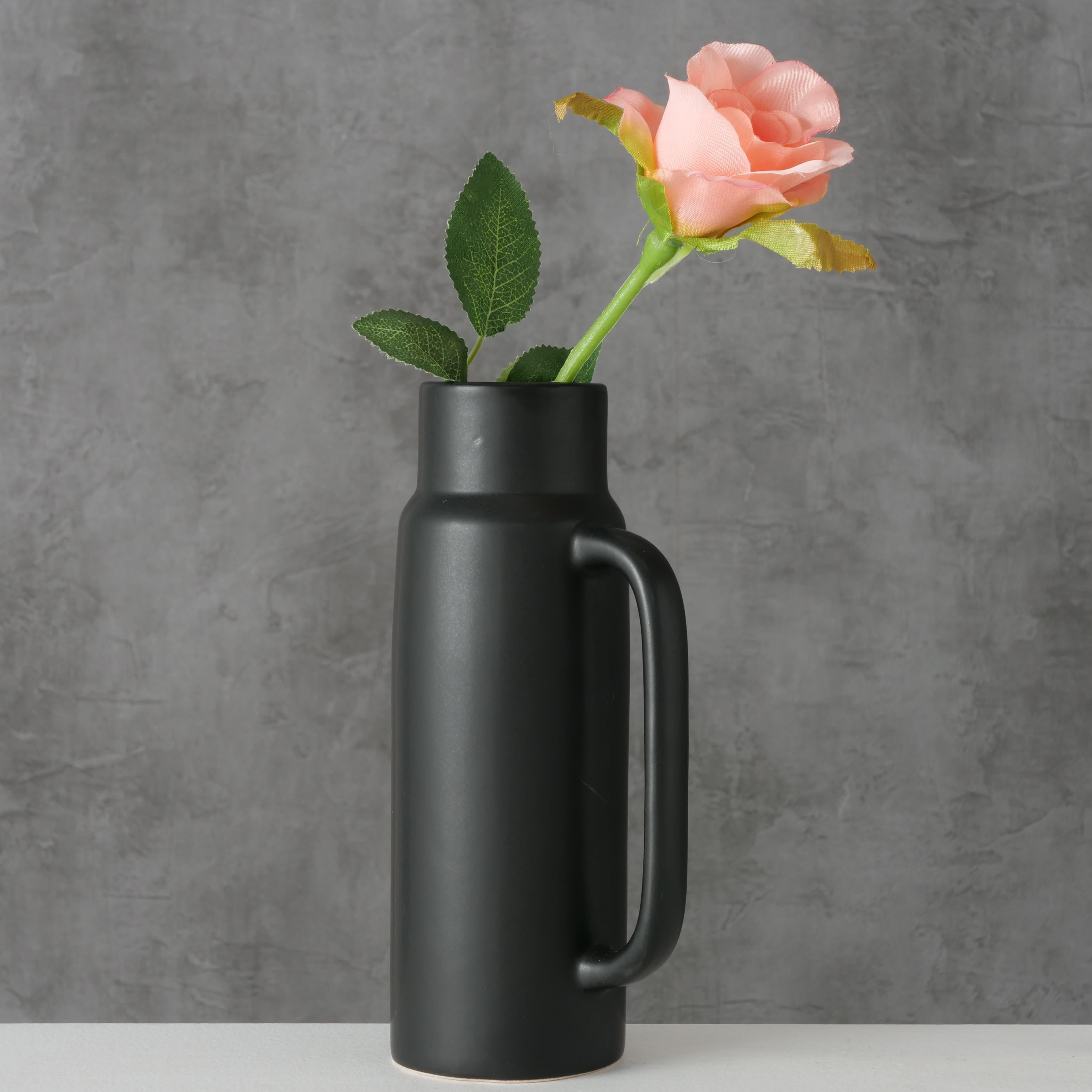 Vaza decorativa din ceramica Pamelo Negru, L10xl7xH21 cm poza