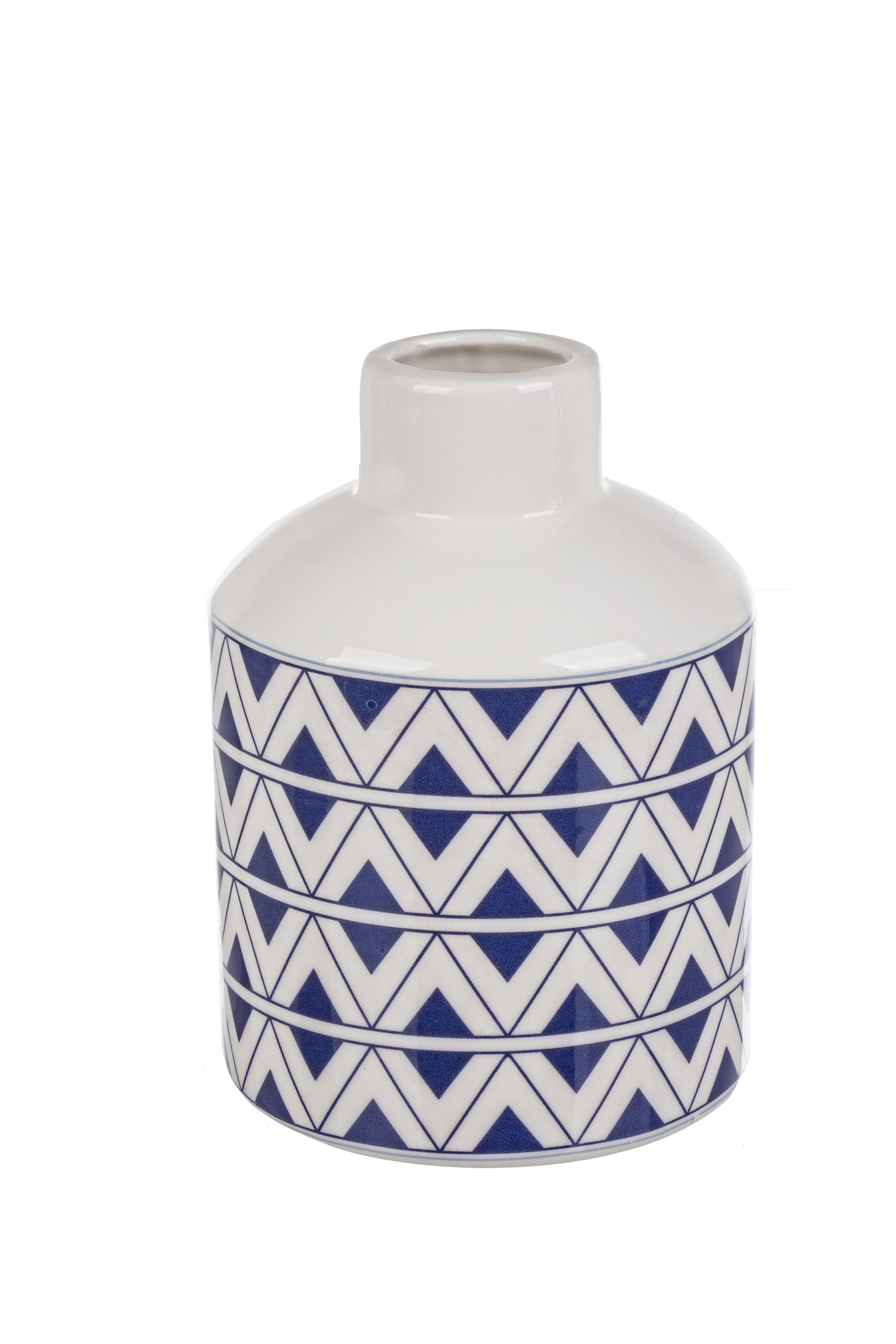 Vaza decorativa din ceramica Tunisi L Alb / Albastru, Ø15,8xH21,5 cm