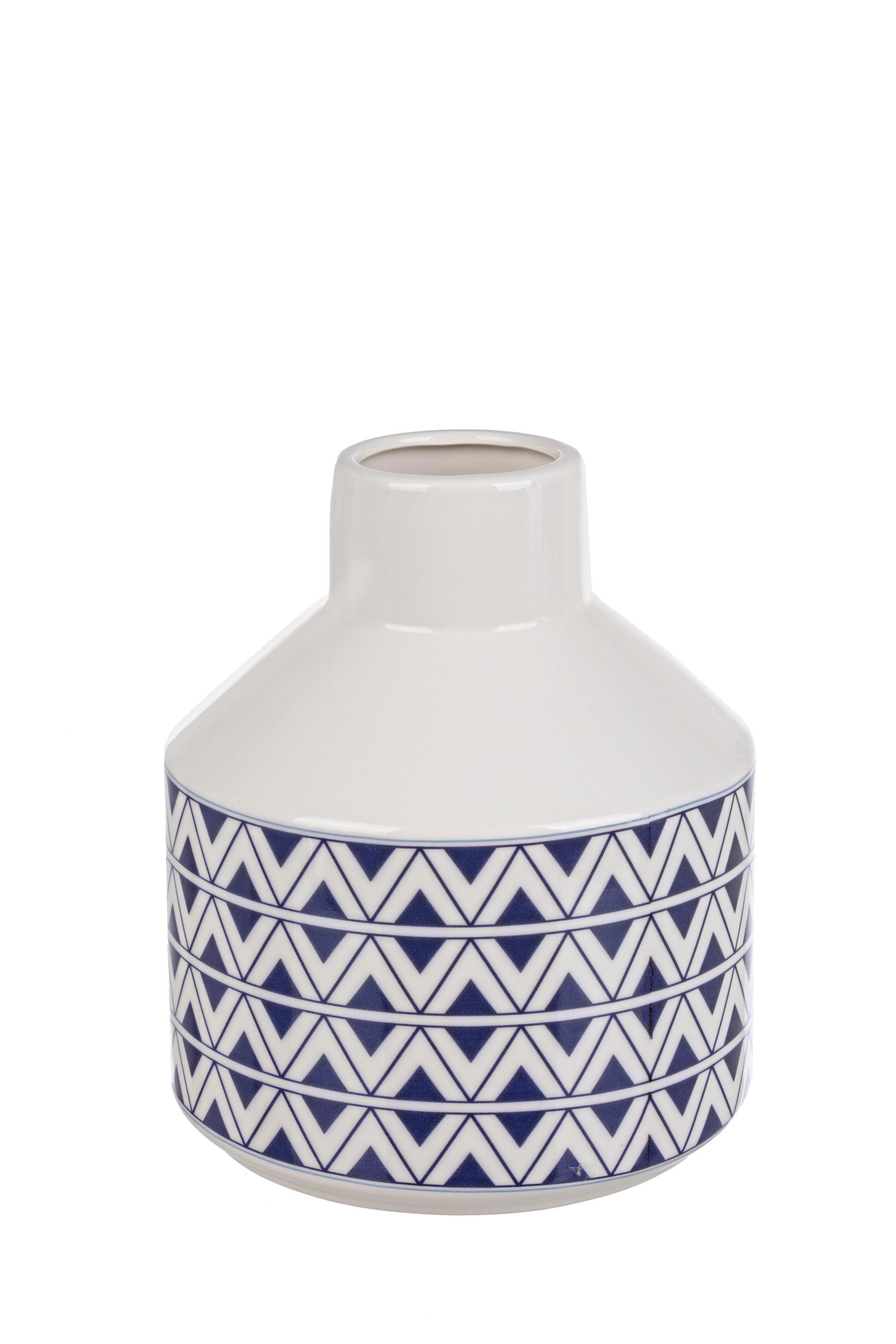 Vaza decorativa din ceramica Tunisi S Alb / Albastru, Ø17xH19,5 cm poza