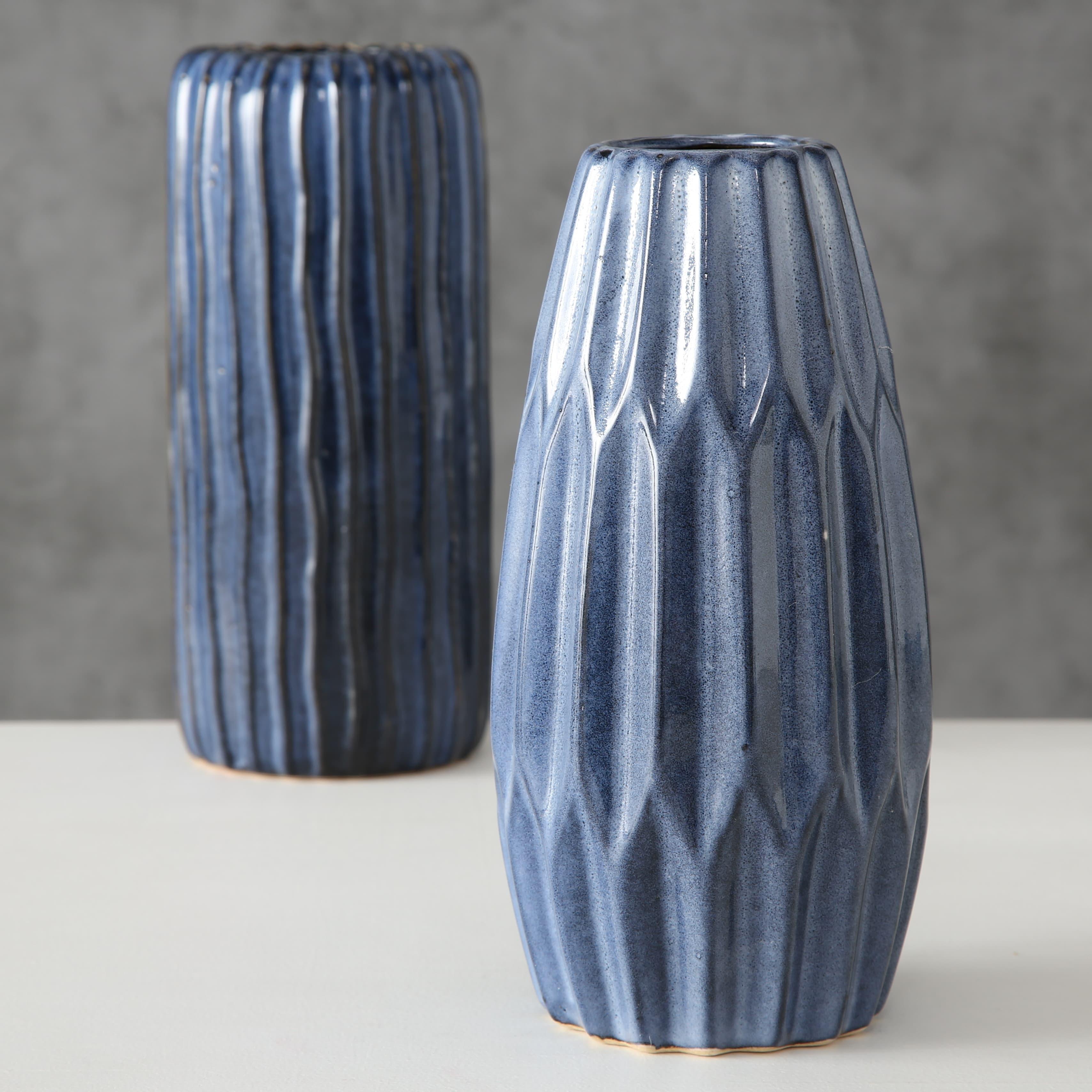 Vaza decorativa din portelan Aquarel Albastru, Modele Asortate, Ø10xH24 cm