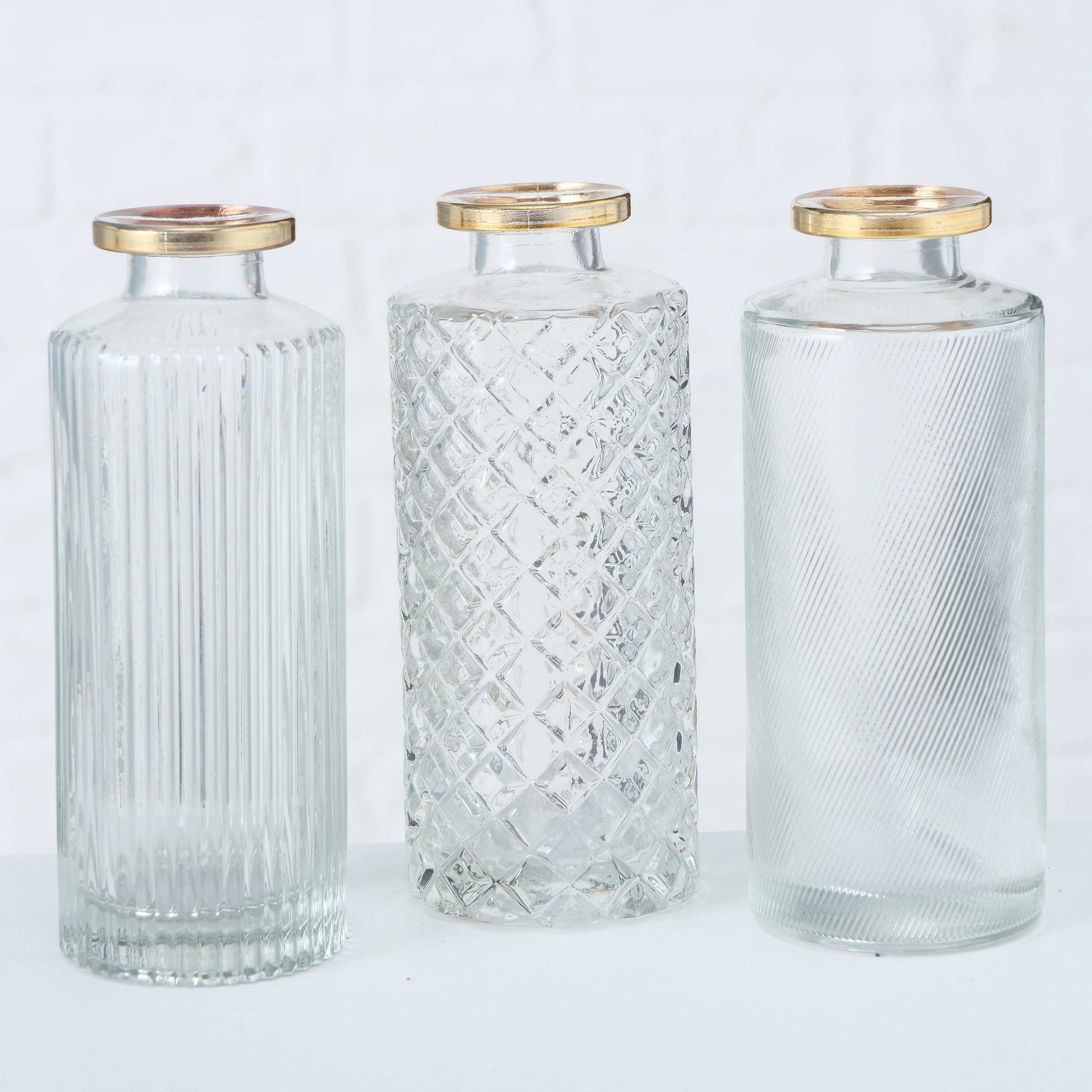 Vaza decorativa din sticla Adore Clear, Modele Asortate, Ø5xH13 cm