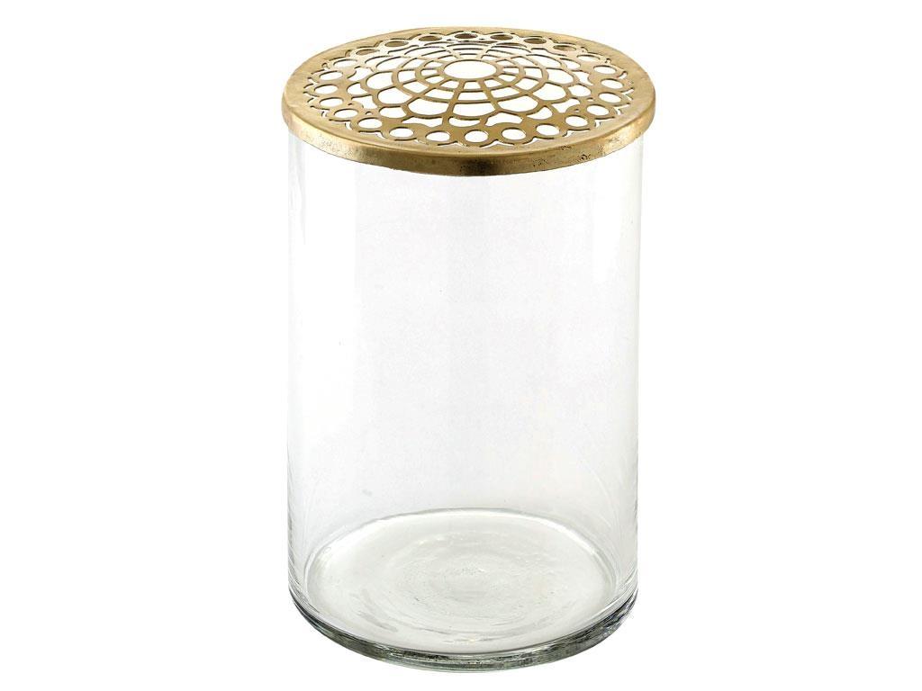Vaza decorativa din sticla Brassy 963397 Alama, Ø10xH15,5 cm, Villa Collection