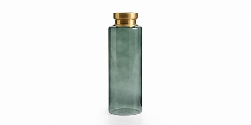 Vaza decorativa din sticla Logan Big Verde / Auriu, Ø10xH30 cm