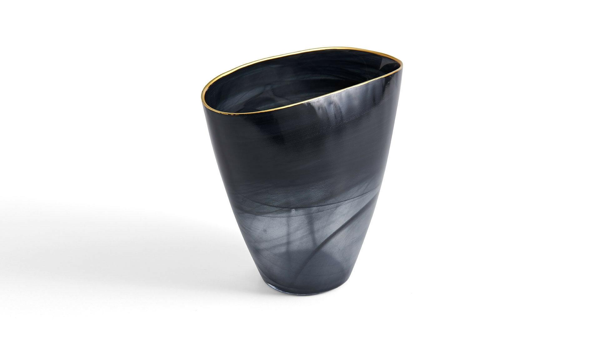 Vaza decorativa din sticla Logan Tall Fumuriu, L22xl8xH24 cm