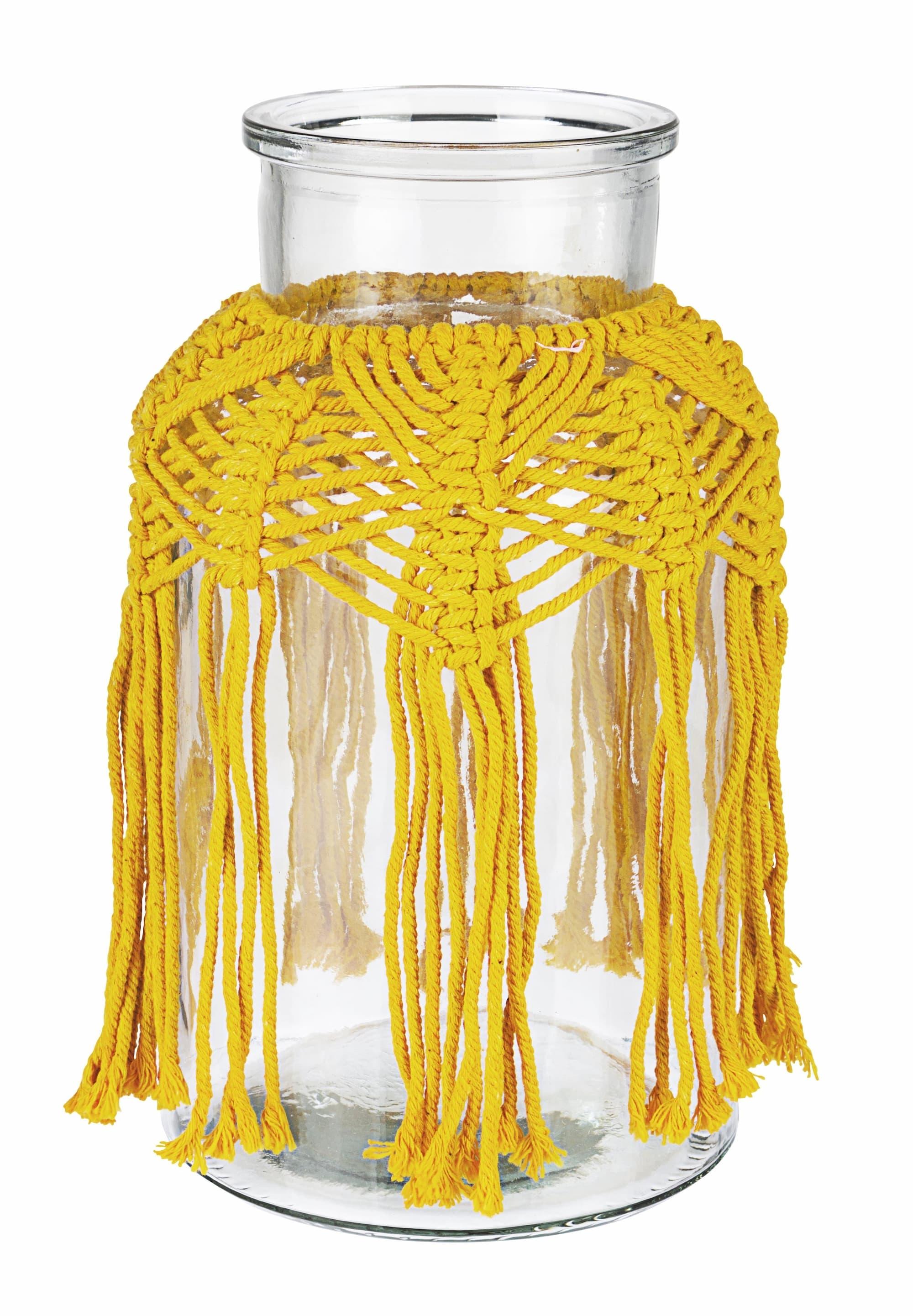 Vaza decorativa din sticla Peruvian Galben, Ø14,5xH25,5 cm poza