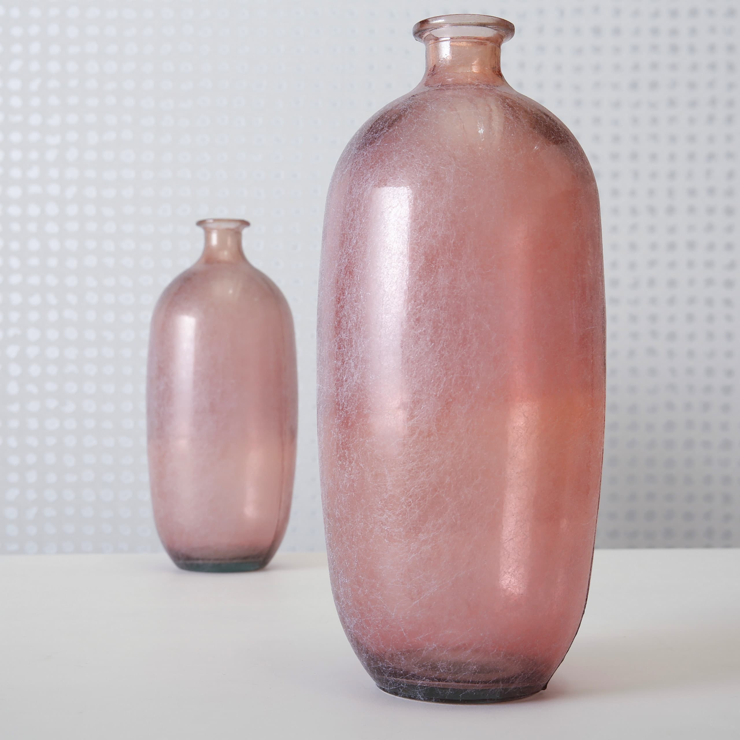 Vaza decorativa din sticla reciclata Alicia Big Roz, Ø19xH45 cm
