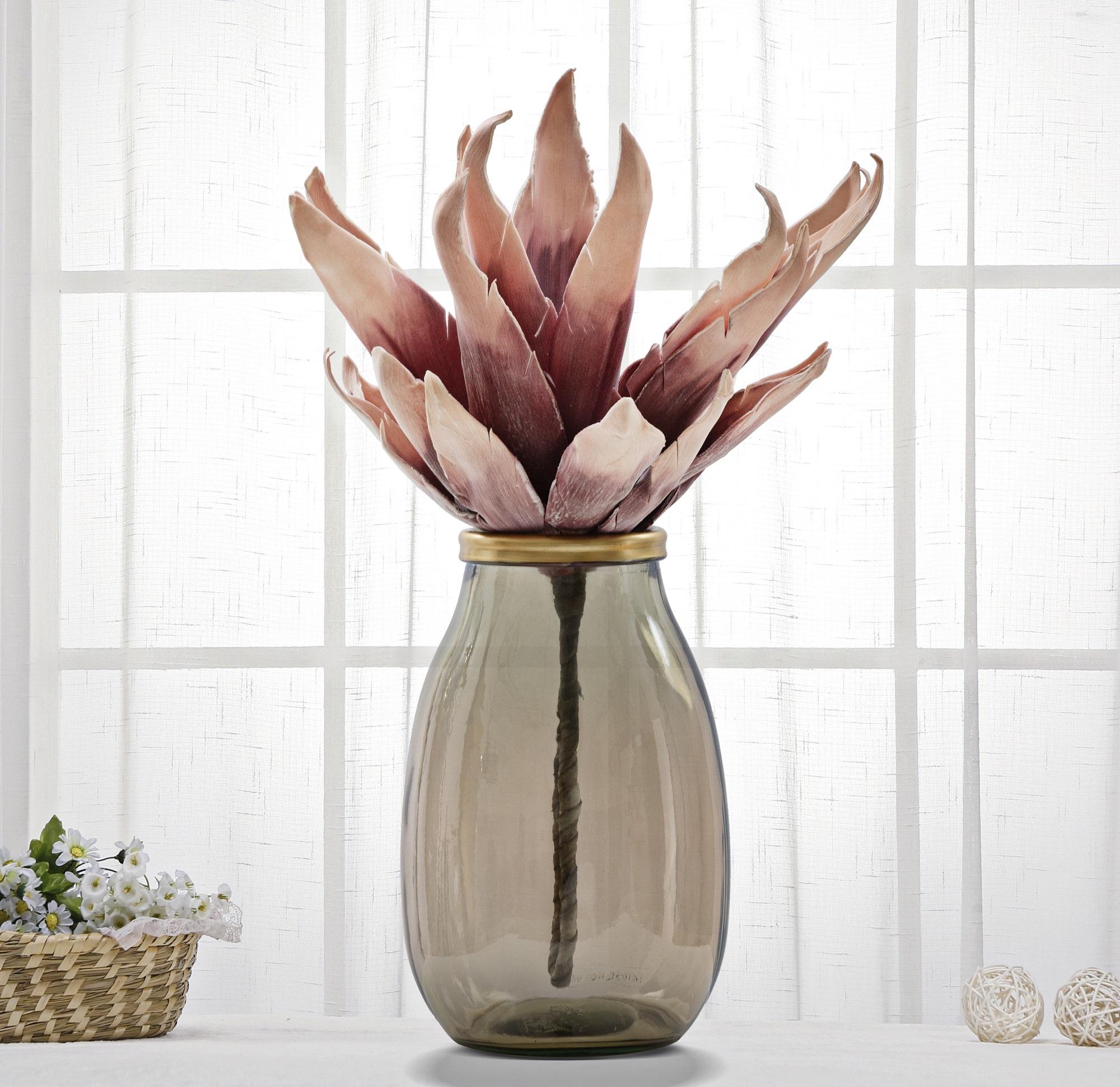 Vaza decorativa din sticla reciclata Roto Round Fumuriu, Ø18xH28 cm