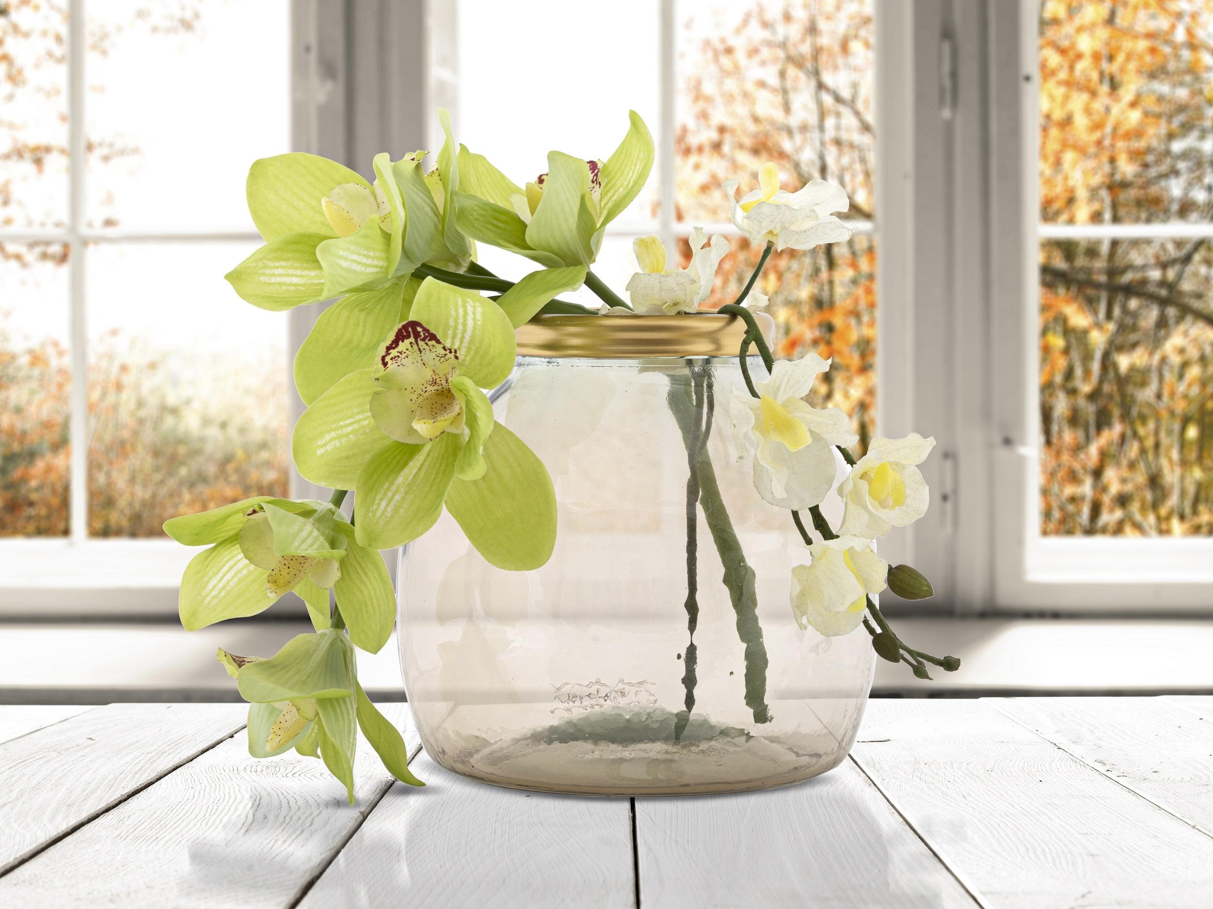 Vaza decorativa din sticla reciclata Roto Round Medium Fumuriu, Ø21xH20 cm poza