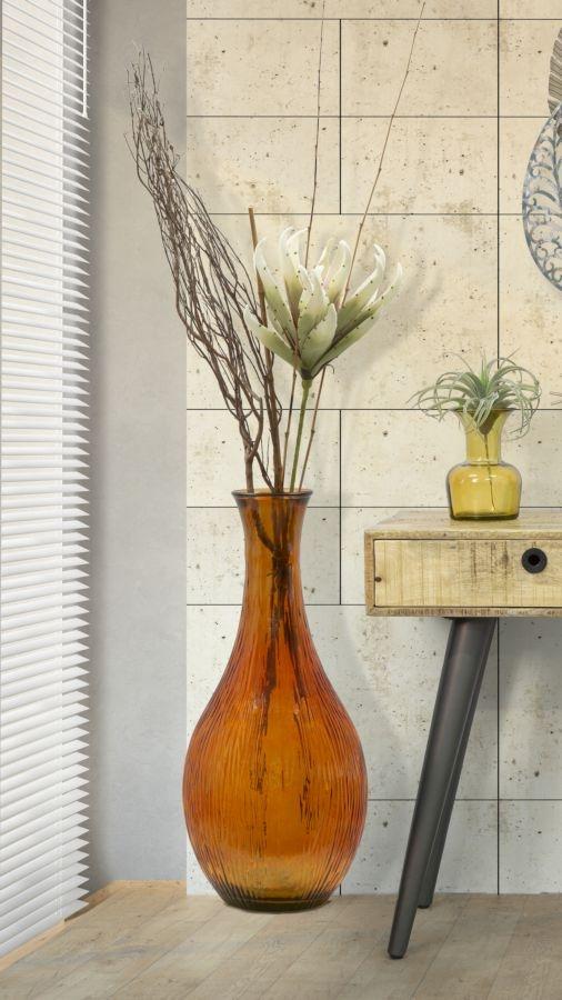 Vaza decorativa din sticla reciclata Slim Medium Portocaliu, Ø37xH75 cm poza