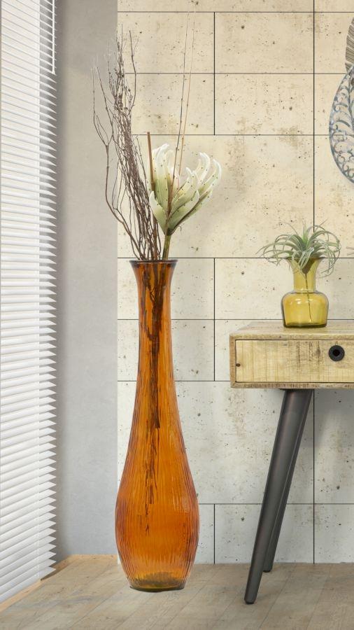 Vaza decorativa din sticla reciclata Slim Portocaliu, Ø25xH99 cm