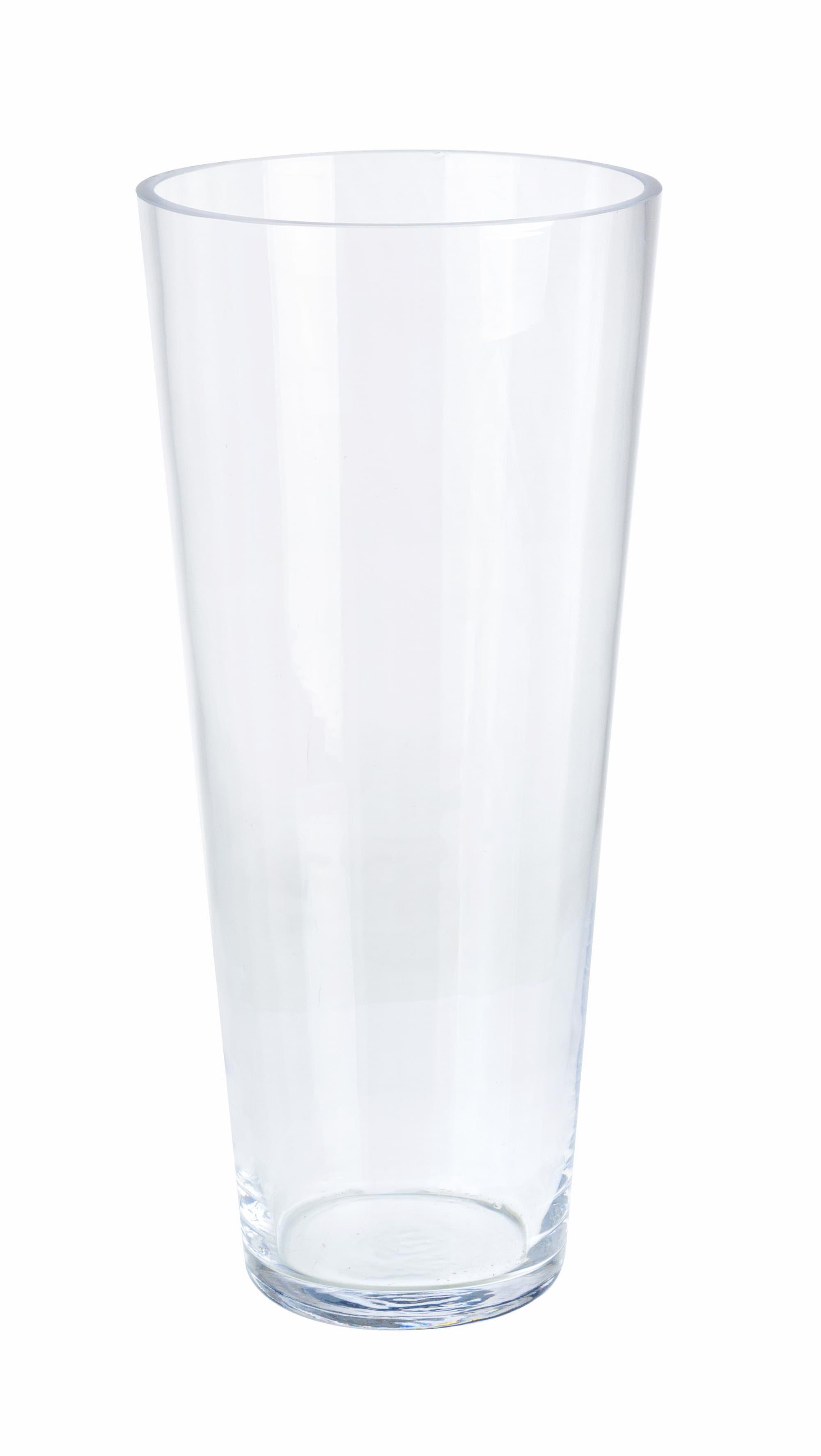 Vaza decorativa din sticla Venice Konic Transparent, Ø15xH40 cm