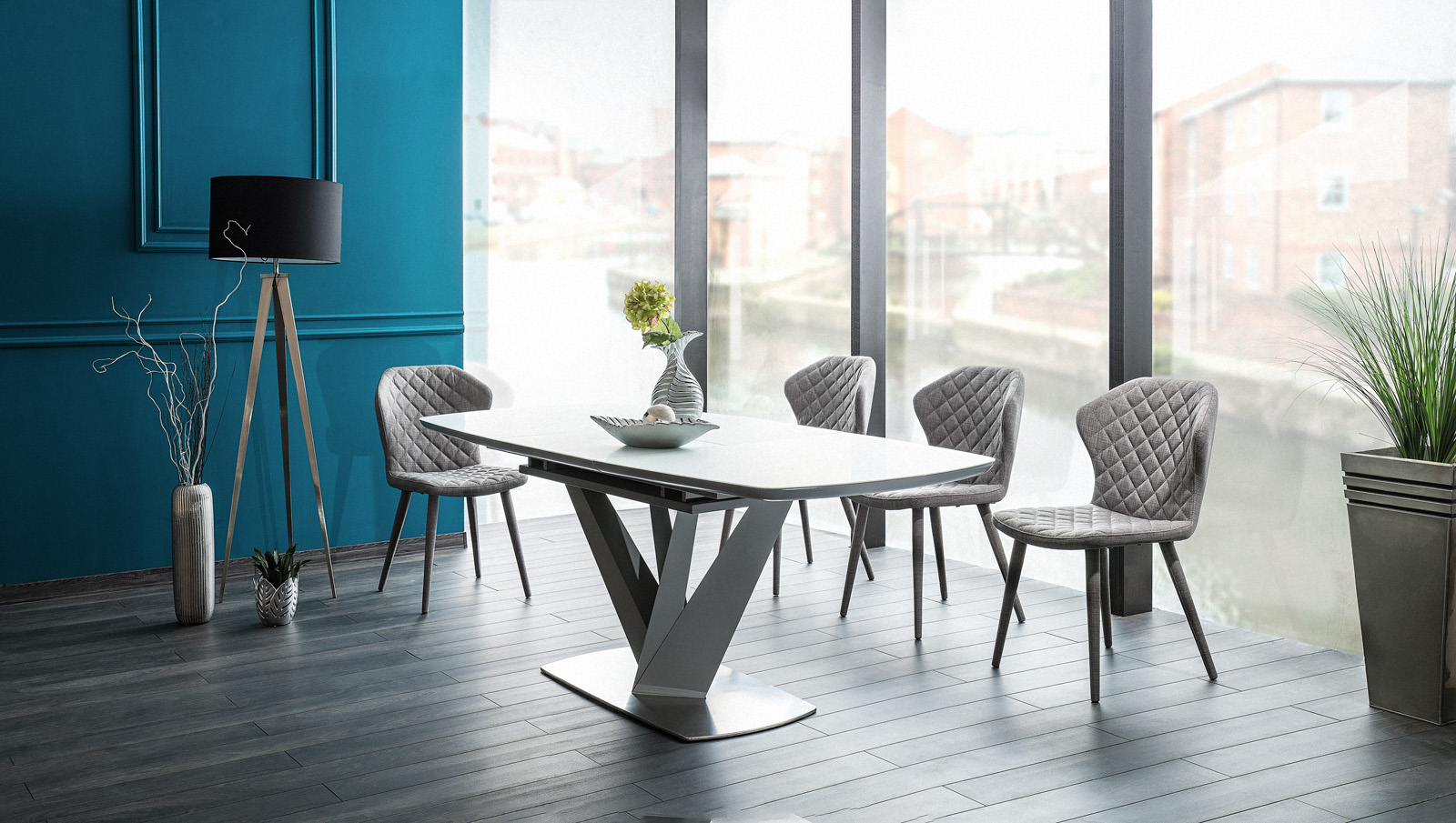 Set masa extensibila din sticla si MDF Vegas White + 4 scaune tapitate Logan Grey, L160-220xl90xH76 cm imagine
