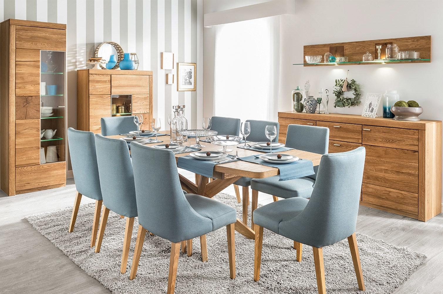 Set de mobila dining din lemn de stejar si furnir, 5 piese Velle Oak imagine
